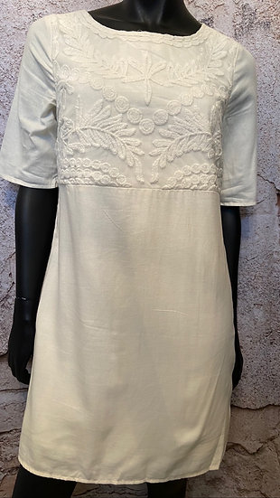 Old Navy Cream Embroidered Dress