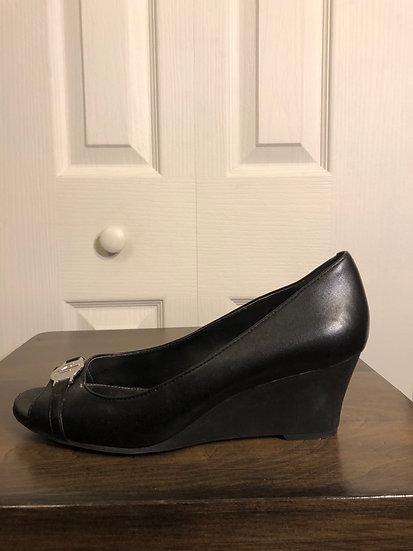 Ralph Lauren Black Leather Wedge
