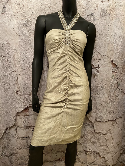 Le Chateau Gold Rouched Dress