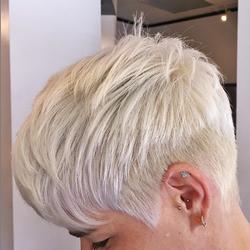 platinum blonde, short cut