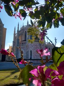 Atrás da Basílica Nossa Senhora do Rosário de Fátima