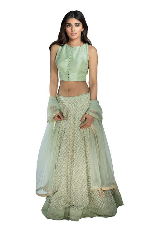 J Designs Mint Green Chikankari Lehenga
