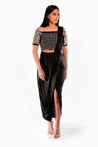 Roshni Chopra Designs Off Shoulder Draped Skirt Saree