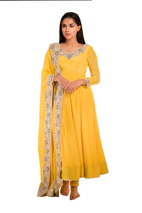 J Designs Yellow Anarkali with Pearl and Dhabka work