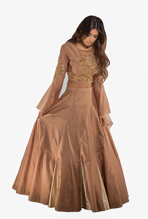 J Designs Gold Bell Sleeves and Leather Slits Lehenga