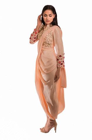 Roshni Chopra Designs Silk Bird Draped Dhoti Saree