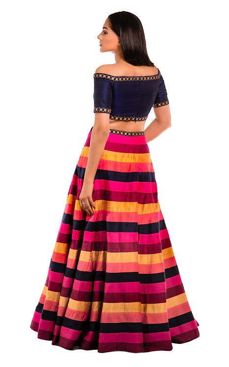 Priyal Prakash Off Shoulder Blue and Multi-coloured Lehenga