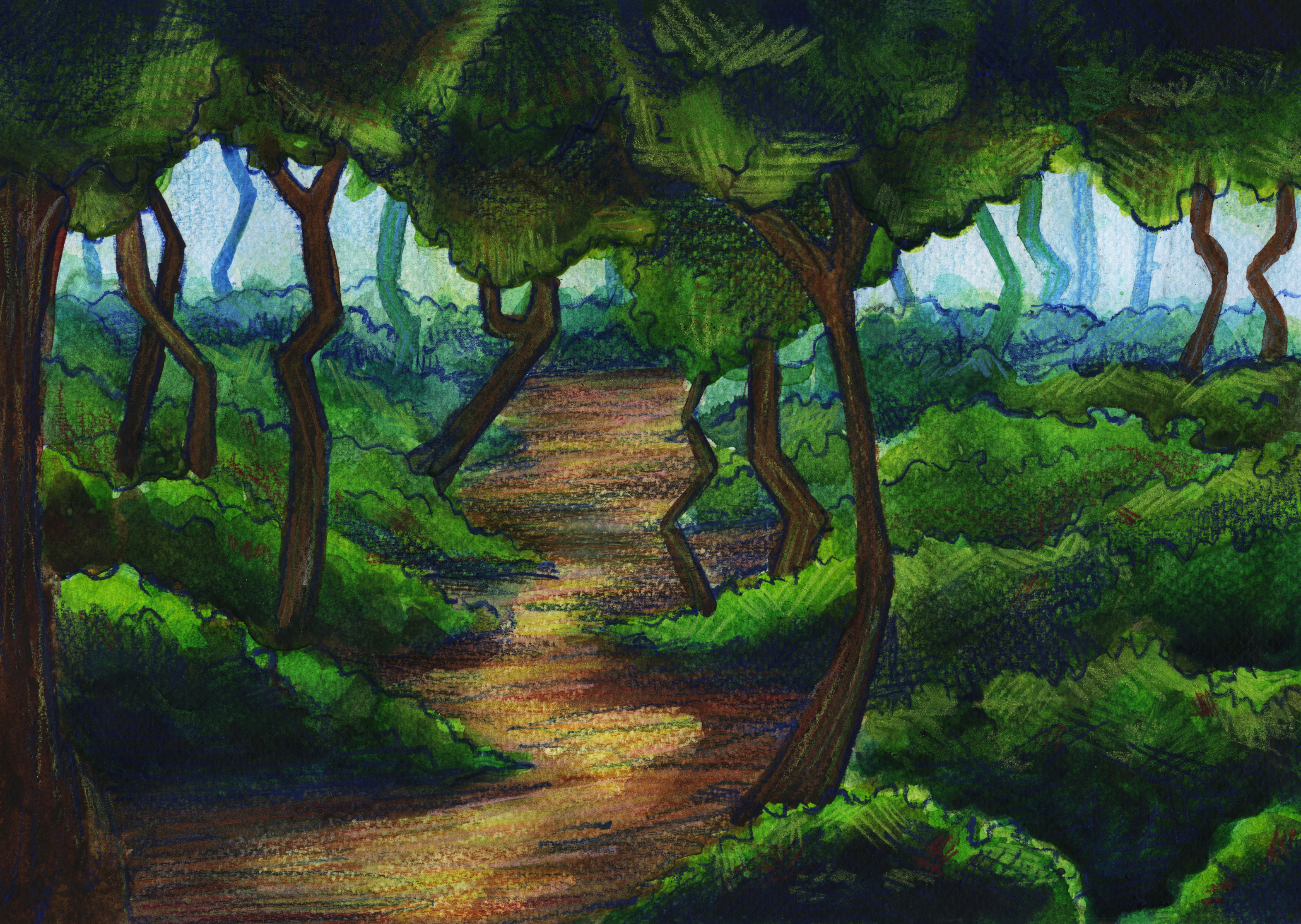 Watercolor Stylized Forest Study