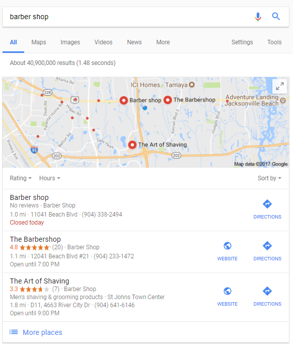 Local map for local SEO