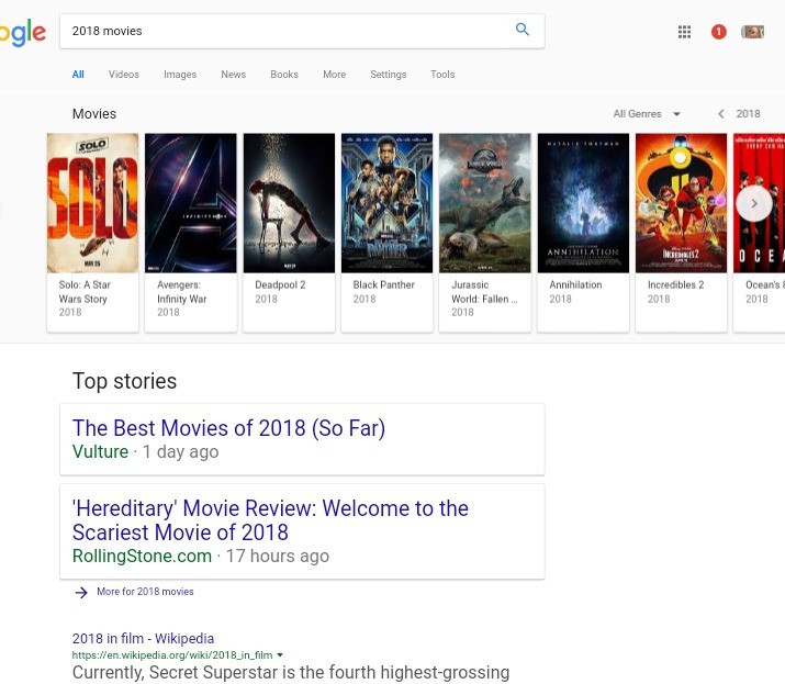 Structured data for movie