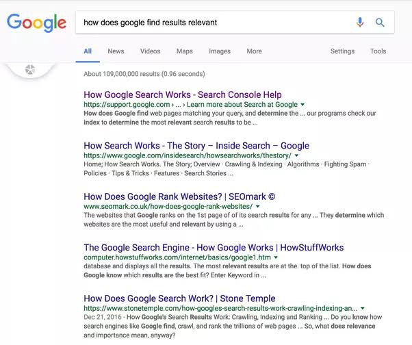 How search engine results are ranked
