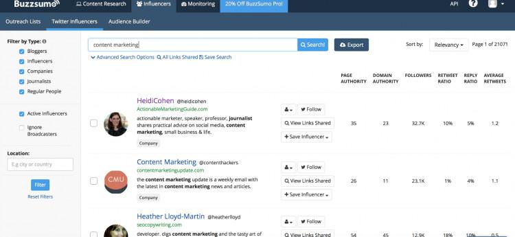 Buzzsumo instagram influencer tool