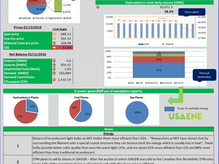 Colombian Electricity Market - Daily Report 01/15/2016