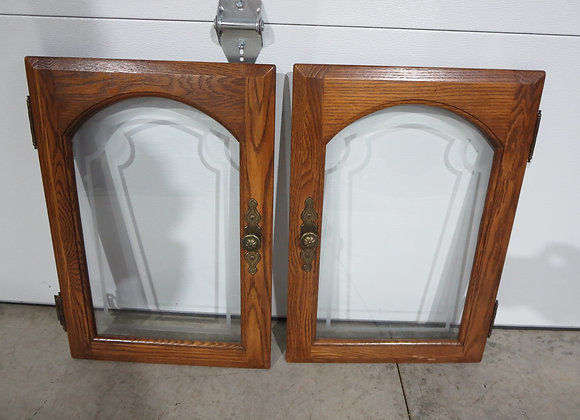 2 Cabinet Etched Glass Doors