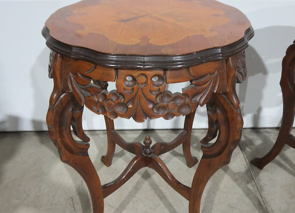 Vintage Round Table Carved Inlaid