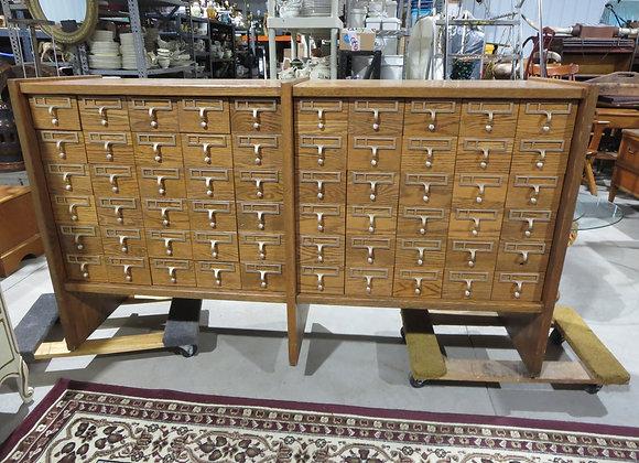 Large Oak 60 Drawer Library Index File / Wine Cabinet