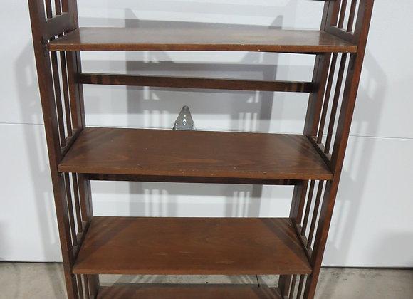 Dark Stained Folding Book Shelf