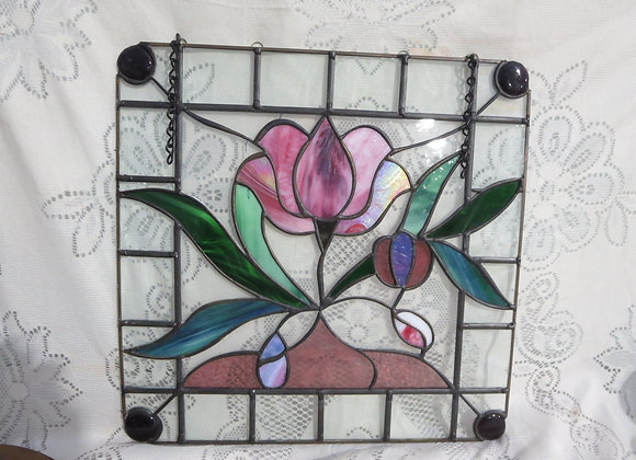 Stained Glass Window Pink Tulip
