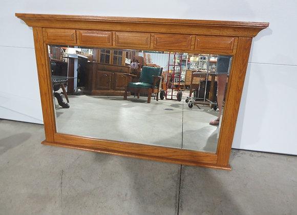 Large Oak Dresser Beveled Mirror