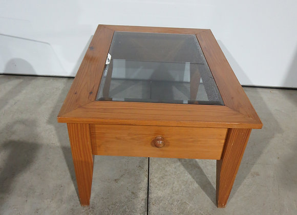 Pine End Table w/ Smoked Beveled Glass