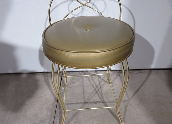 Mid Century Gold Metal Vanity Stool
