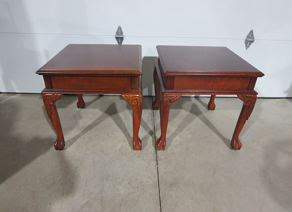 Pair of Wood End Tables w/ Ball & Claw Feet
