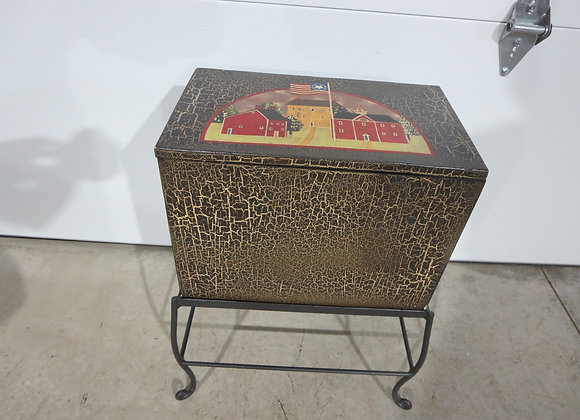 Hand Painted Chest on Metal Stand