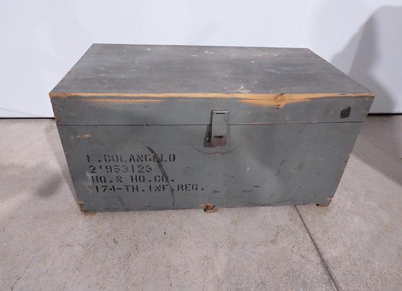 Wood Military Trunk Locker 174th Inf.