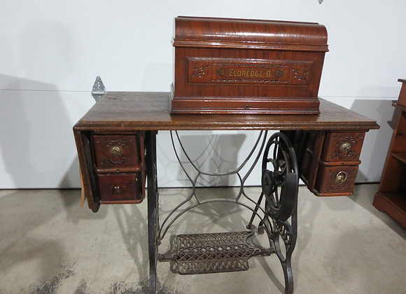 Vintage Eldredge B Treadle Sewing Machine & Cabinet