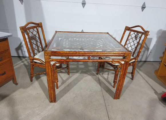 Rattan? Square Table & 2 Chairs