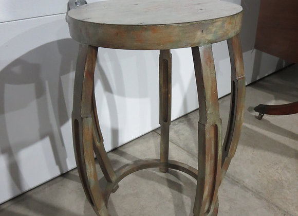 Round Painted Wood Table / Large Plant Stand