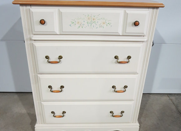 Ivory Chest of 4 Drawers w/ Floral Design