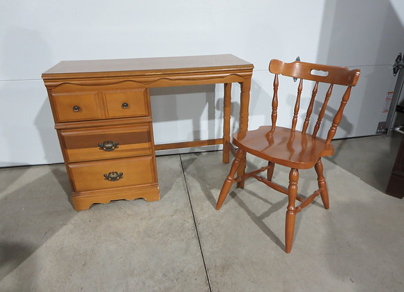 Small Maple 3 Drawer Desk & Chair