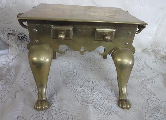 Antique English Victorian Brass Footman Fireplace Trivet Pot Warmer
