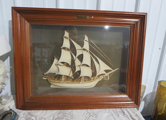 Vintage Framed Turner Colonial Queen Sailing Ship