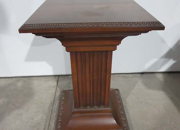 Small Square Wood Pedestal Table / Plant Stand