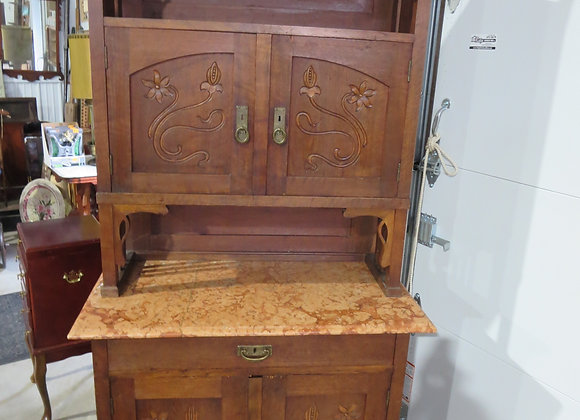 Early Carved China Hutch Cabinet