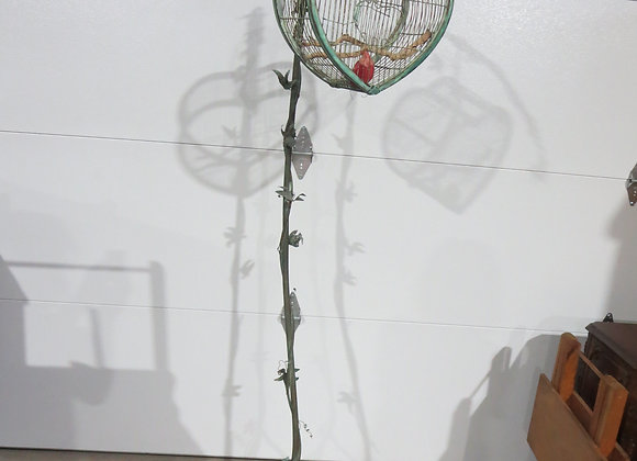 Metal Heart Shape Bird Cage Stand w/ Vines