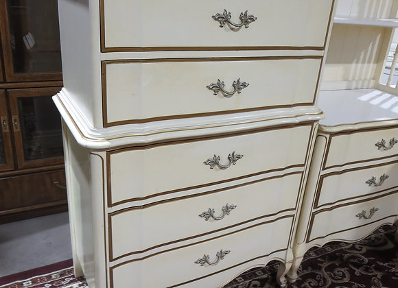 Dixie French Provincial 5 Drawer Chest on Chest