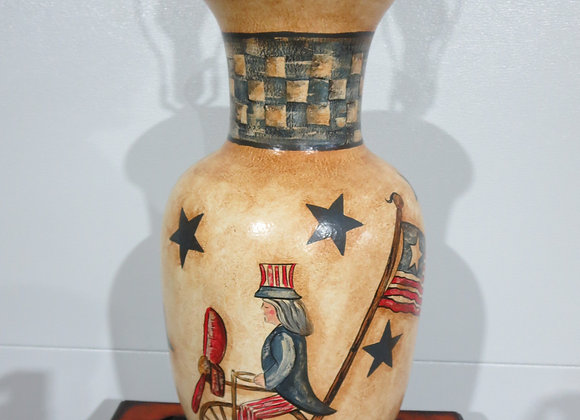 Electric Table Lamp w/ Uncle Sam & Flag Patriotic