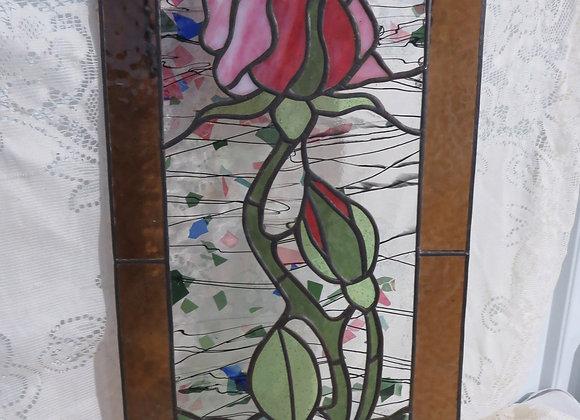 Leaded Glass Rose Window Suncatcher