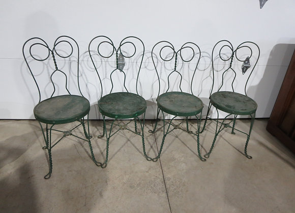 4 Vintage Green Ice Cream Chairs