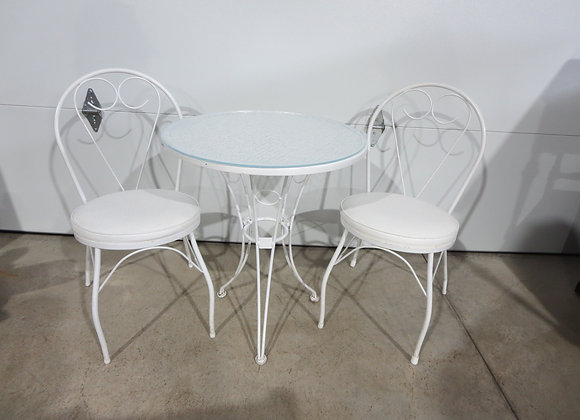 Small Metal Patio Round Table & 2 Chairs