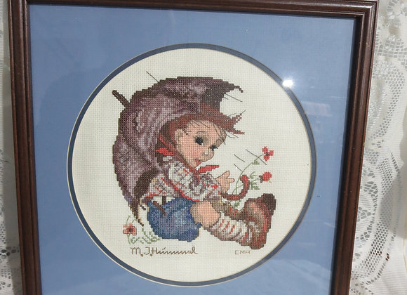 Cross Stitch Hummel Boy with Umbrella