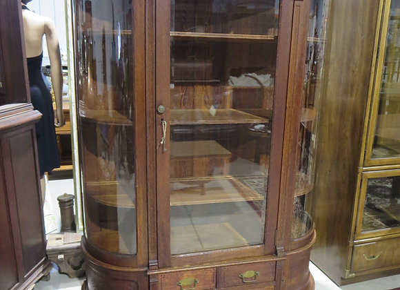 Antique Curved Glass Curio China Cabinet