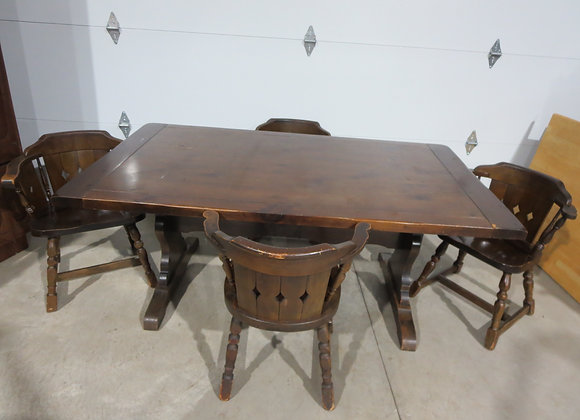Vintage Pine Farm Table & 4 Chairs