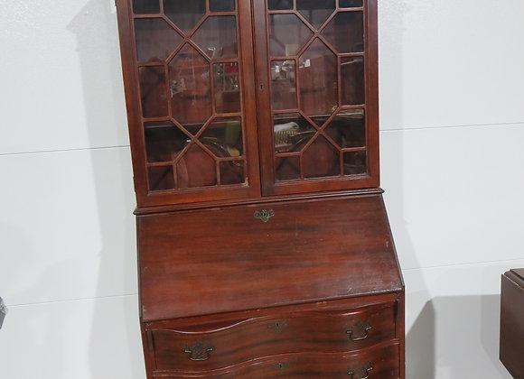 Vintage Mahogany Secretary Desk / Curio Cabinet