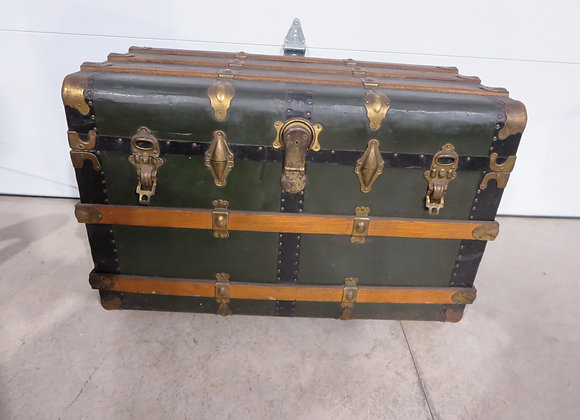 Green Metal & Wood Slat Large Trunk
