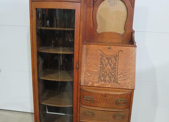 Vintage Oak Secretary / Curio Cabinet
