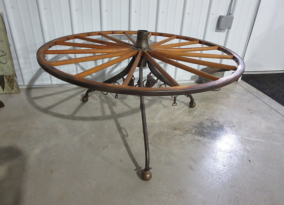 Large Wooden Wheel Coffee Table